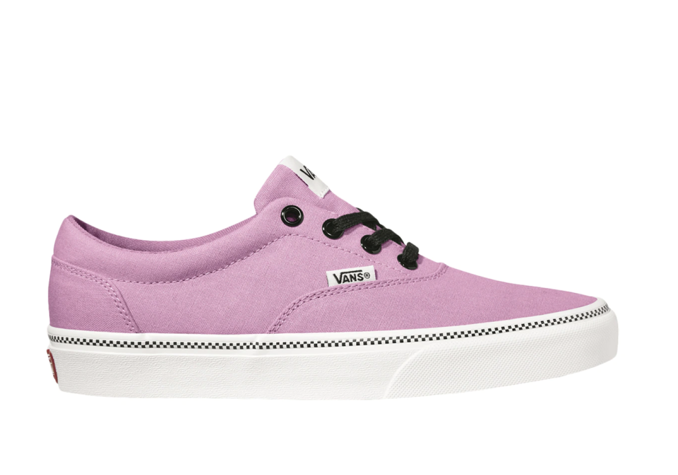 light pink Vans Doheny Check Foxing Sneakers  with black laces