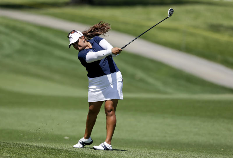 Lizette Salas hits from the fairway on the second hole during the second round of the LPGA Kraft Nabisco Championship golf tournament in Rancho Mirage, Calif., Friday, April 5, 2013. (AP Photo/Chris Carlson)