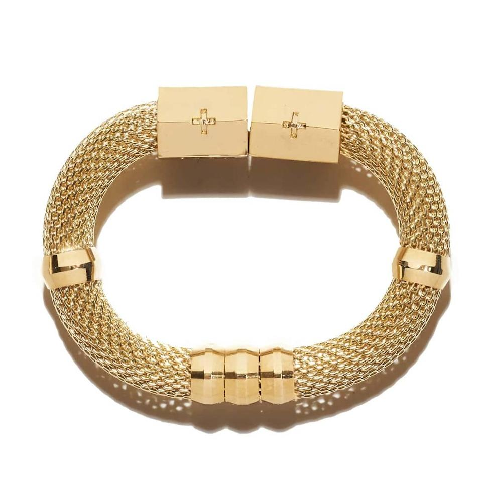 The mesh classic gold everything bracelet is a Holst + Lee best-seller, according to designer Natalie Holst. First lady Jill Biden was recently spotted wearing it.