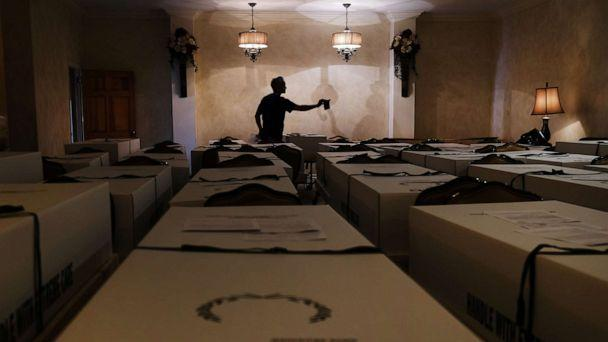 PHOTO: A worker organizes bodies in the Gerard Neufeld funeral home in Queens on April 22, 2020, in New York. (Spencer Platt/Getty Images)
