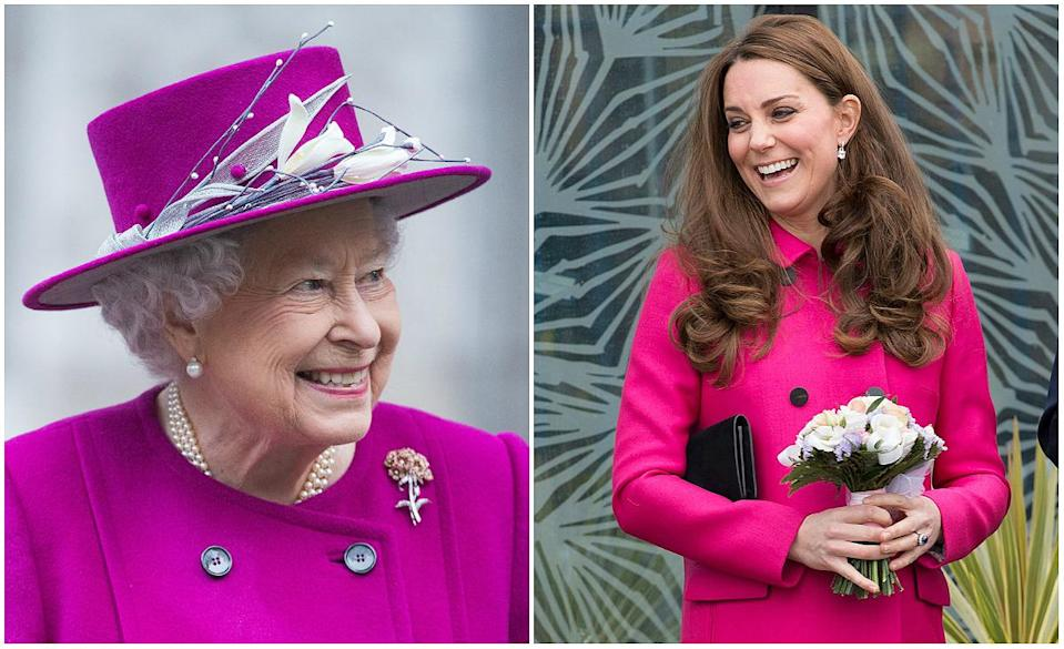 Queen Elizabeth II stepped out in a similar coat to one the Duchess of Cambridge has worn before.<em> (Photos: Getty)</em>