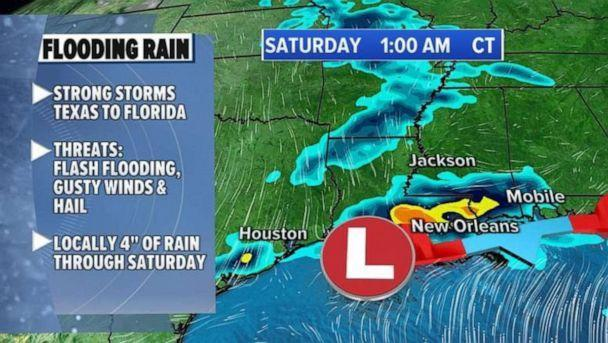 PHOTO: In the South and the Gulf Coast, strong storms and flooding will continue into Saturday. (ABC News)
