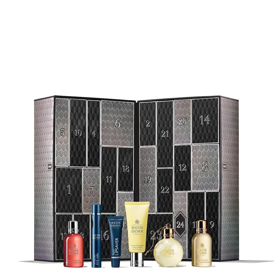 """<p><strong>molton brown</strong></p><p>moltonbrown.com</p><p><strong>$250.00</strong></p><p><a href=""""https://go.redirectingat.com?id=74968X1596630&url=https%3A%2F%2Fwww.moltonbrown.com%2Fstore%2Fgifts%2Fholiday-gift-sets%2Fmolton-brown-advent-calendar%2FMBC2021&sref=https%3A%2F%2Fwww.townandcountrymag.com%2Fstyle%2Ffashion-trends%2Fnews%2Fg2970%2Ffancy-advent-calendars%2F"""" rel=""""nofollow noopener"""" target=""""_blank"""" data-ylk=""""slk:Shop Now"""" class=""""link rapid-noclick-resp"""">Shop Now</a></p><p>Pamper yourself leading up to the holidays with this luxurious assortment of body washes, oils, and lotions.</p>"""