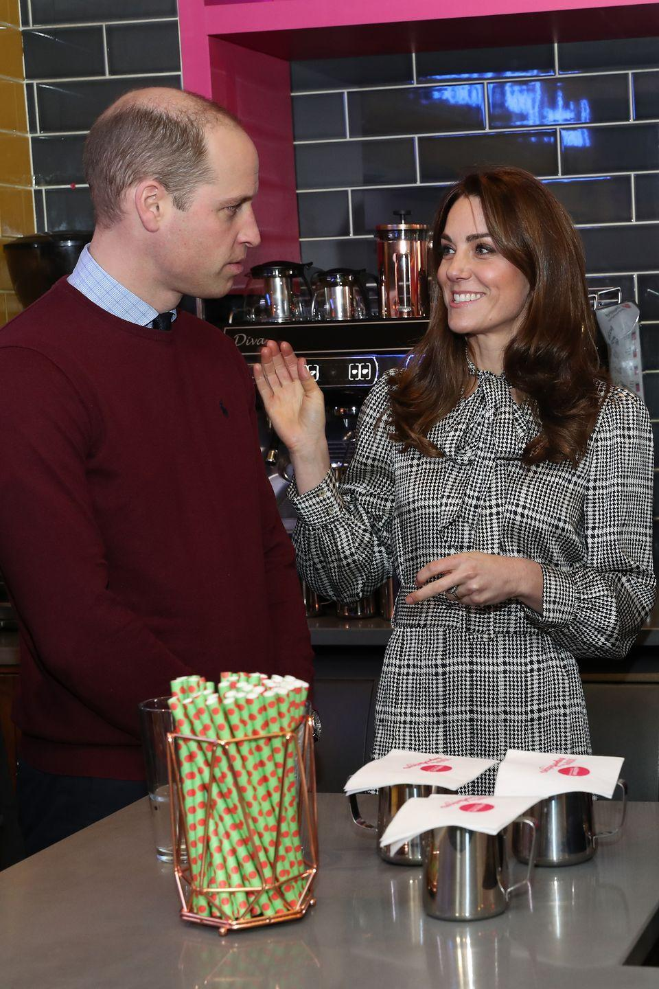 <p>Kate sported a houndstooth plaid dress during a visit to Bradford, where she and Prince William made milkshakes.</p>