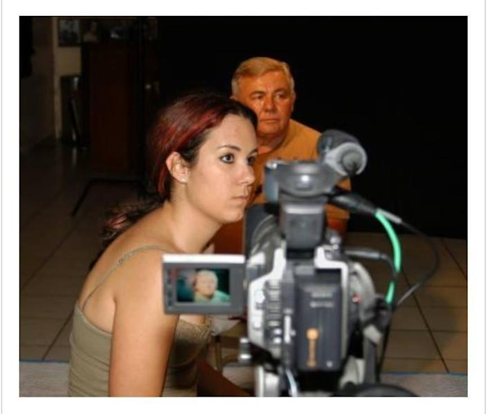 Romina Ruiz-Goiriena as a teenager while filming a student documentary on former Cuban political prisoners in Miami.