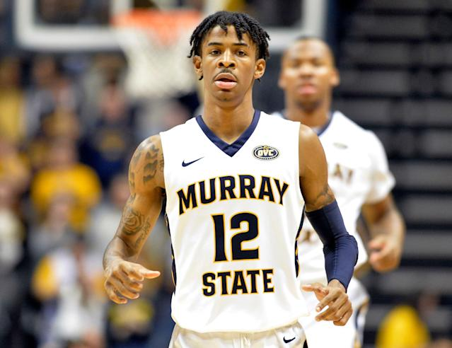 Murray State's Ja Morant in action during the first half of an NCAA college basketball game against SIU - Edwardsville in Murray, Ky., Saturday, Feb. 9, 2019. (AP)