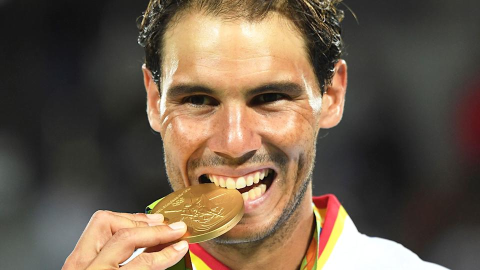 Pictured here, Rafael Nadal with his gold medal from the Rio Games in 2016.