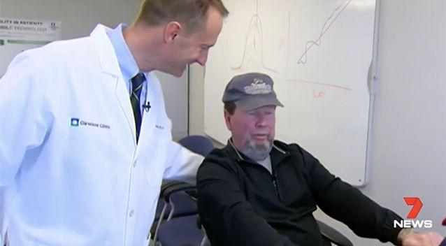 Mr Stover during a cycling therapy session. Photo: 7 News