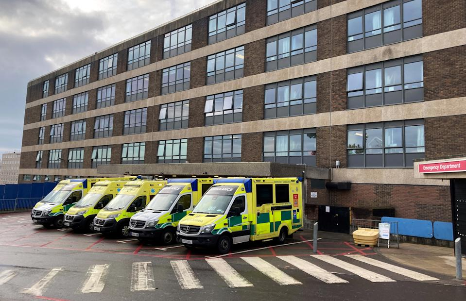 Ambulances parked up outside the Accident and Emergency department at the Queen Alexandra Hospital in Cosham, Portsmouth. (Photo by Andrew Matthews/PA Images via Getty Images)