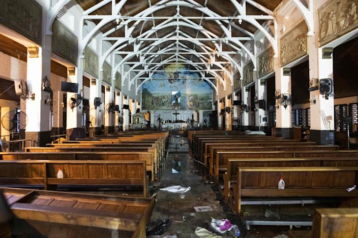 The interior of St. Anthony's Shrine is pictured in Colombo on April 26, 2019, following a series of bomb blasts targeting churches and luxury hotels on Easter Sunday in Sri Lanka.  (Photo: Jewel Samad/AFP/Getty Images)