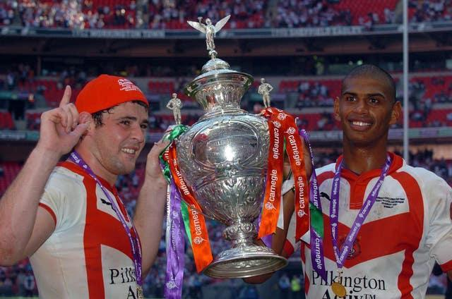Paul Wellens (left) and Leon Pryce (right) were named joint winners of the Lance Todd Trophy