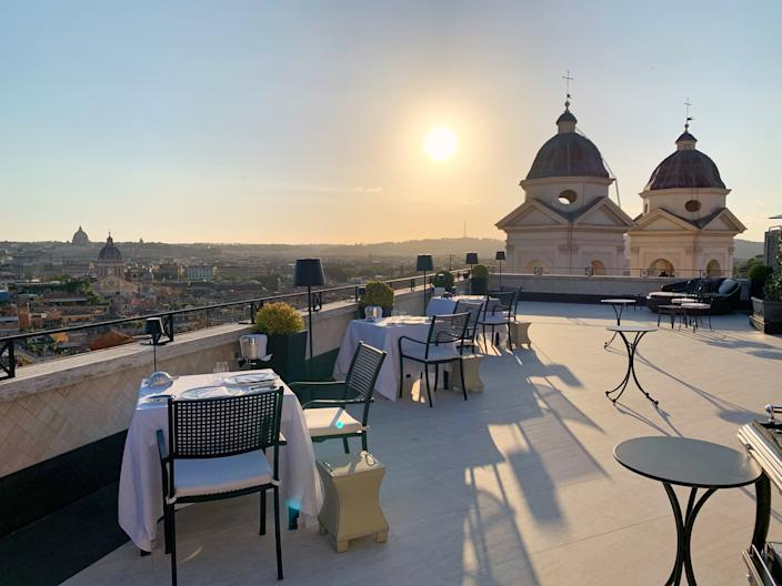 """<div class=""""caption""""> Imàgo restaurant in Rome's Hassler Hotel has relocated from its indoor space to the terrace of a seventh-floor suite. </div> <cite class=""""credit"""">Photo: Laura Itzkowitz</cite>"""