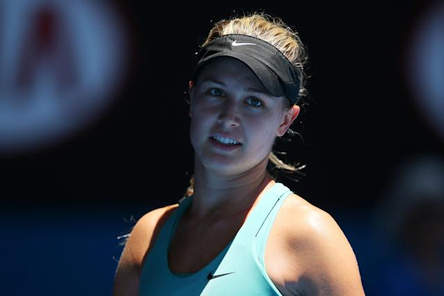 MELBOURNE, AUSTRALIA - JANUARY 21: Eugenie Bouchard of Canada looks on in her quarterfinal match against Ana Ivanovic of Serbia during day nine of the 2014 Australian Open at Melbourne Park on January 21, 2014 in Melbourne, Australia. (Photo by Mark Kolbe/Getty Images)