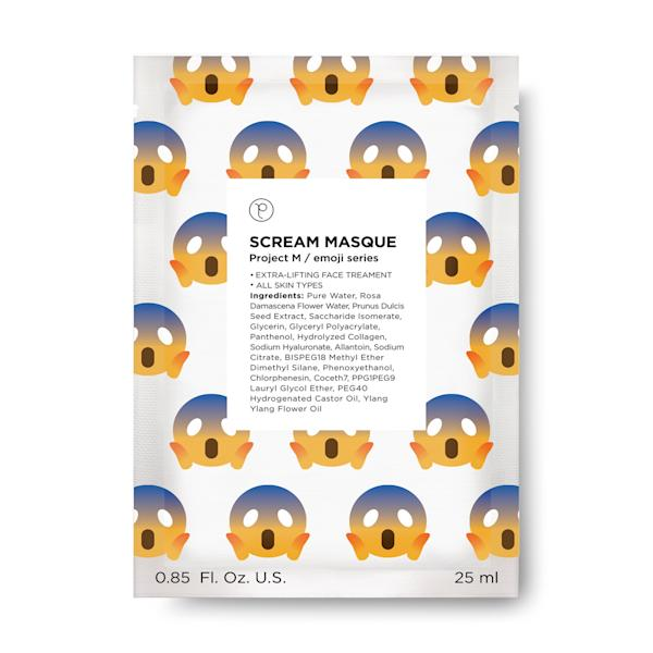 The emoji sheet masks in Petite Amie Skincare's latest collection are printed with your most-used emojis.