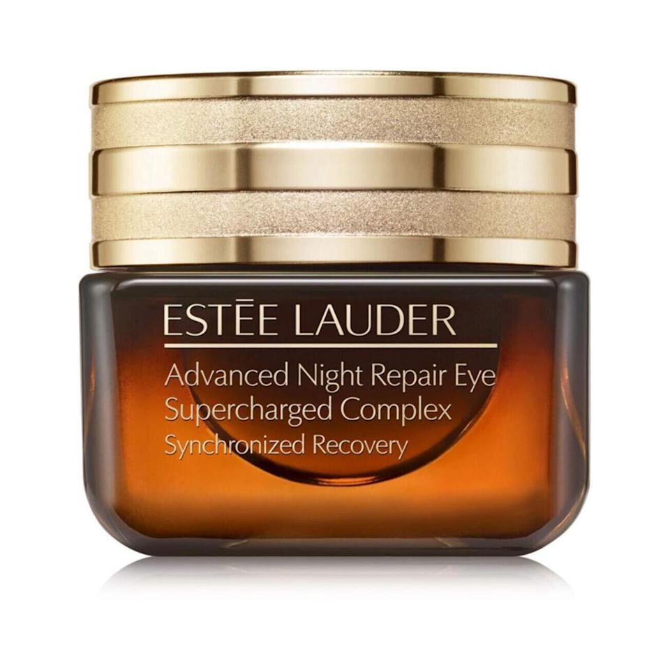 """Not getting enough of those all-important z's? Keep 'em guessing with Estée Lauder's Advanced Night Repair Eye Supercharged Complex, a luxurious gel-cream that combats the side effects of sleep deprivation, <a href=""""https://www.allure.com/story/5-skin-cancer-symptoms-from-sun-damage?mbid=synd_yahoo_rss"""" rel=""""nofollow noopener"""" target=""""_blank"""" data-ylk=""""slk:UV damage"""" class=""""link rapid-noclick-resp"""">UV damage</a>, and pollution buildup."""