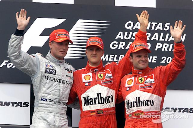 "David Coulthard, Michael Schumacher y Rubens Barrichello <span class=""copyright"">Ferrari Media Center</span>"