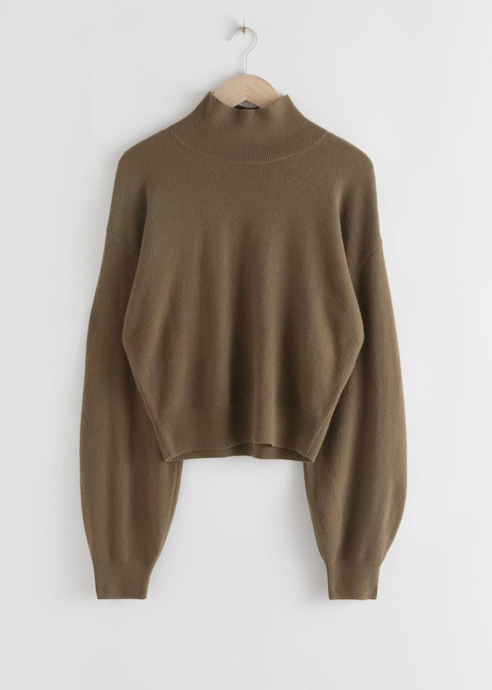 "<br><br><strong>& Other Stories</strong> Cashmere Puff Sleeve Turtleneck, $, available at <a href=""https://www.stories.com/en_gbp/clothing/knitwear/turtlenecks/product.cashmere-puff-sleeve-turtleneck-green.0783979003.html"" rel=""nofollow noopener"" target=""_blank"" data-ylk=""slk:& Other Stories"" class=""link rapid-noclick-resp"">& Other Stories</a>"