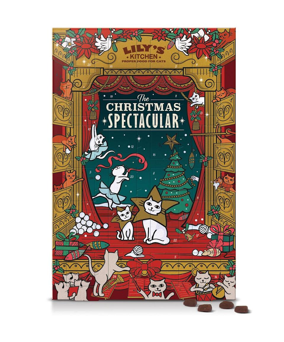 """<p>Prepare your dog or cat for a memorable Christmas with a delectable Advent calendar of naturally wholesome Lily's Kitchen treats. As they count down the days with festive flavours such as turkey and cranberry, they will be just as excited for 25 December as their human companions.</p><p><a href=""""https://www.lilyskitchen.co.uk/for-cats/food-for-cats/shop-by-product-type/christmas/advent-calendar-for-cats-CTADV.html"""" rel=""""nofollow noopener"""" target=""""_blank"""" data-ylk=""""slk:Cat Advent calendar"""" class=""""link rapid-noclick-resp"""">Cat Advent calendar</a>; <a href=""""https://www.lilyskitchen.co.uk/for-dogs/food-for-dogs/shop-by-product-type/christmas/advent-calendar-for-dogs-DTADV.html"""" rel=""""nofollow noopener"""" target=""""_blank"""" data-ylk=""""slk:dog Advent calendar"""" class=""""link rapid-noclick-resp"""">dog Advent calendar</a>, £10 each, <a href=""""https://www.lilyskitchen.co.uk/"""" rel=""""nofollow noopener"""" target=""""_blank"""" data-ylk=""""slk:Lily's Kitchen"""" class=""""link rapid-noclick-resp"""">Lily's Kitchen</a>. </p>"""