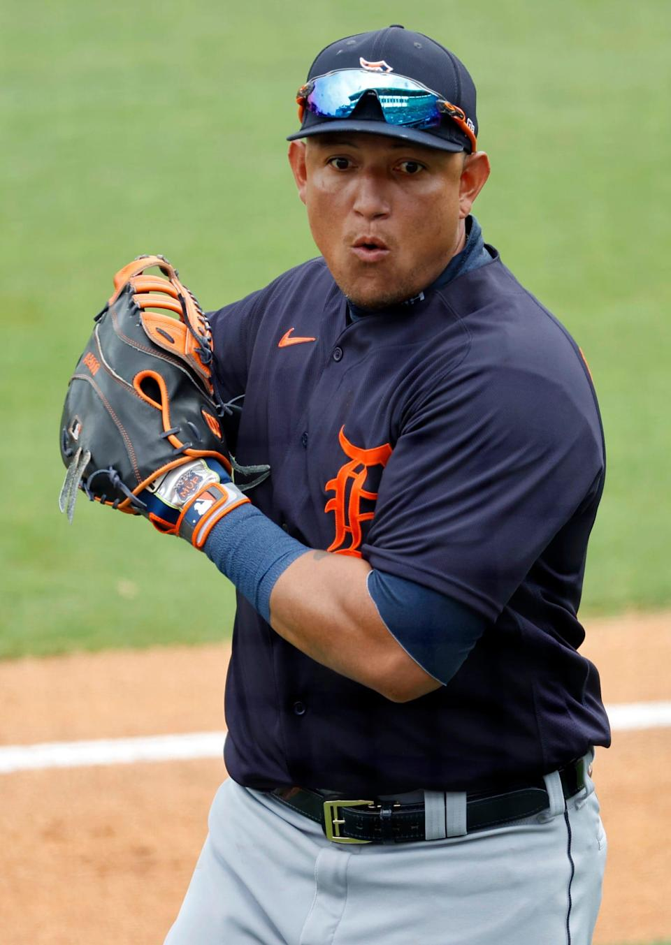 Detroit Tigers first baseman Miguel Cabrera (24) against the New York Yankees on March 29, 2021, at George M. Steinbrenner Field in Florida.