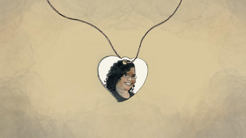 An illustration made from a photo of a pendant with Saferia Johnson's portrait provided by Tressa Clements. (AP Illustration/Peter Hamlin)