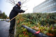 Police officers search bushes at the scene on Russell Way in Crawley, West Sussex, after a 24-year-old man was fatally stabbed on Tuesday night.