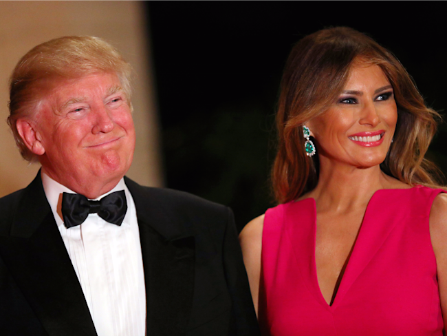 Donald and Melania Trump at an American Red Cross fundraiser at Mar-a-Lago