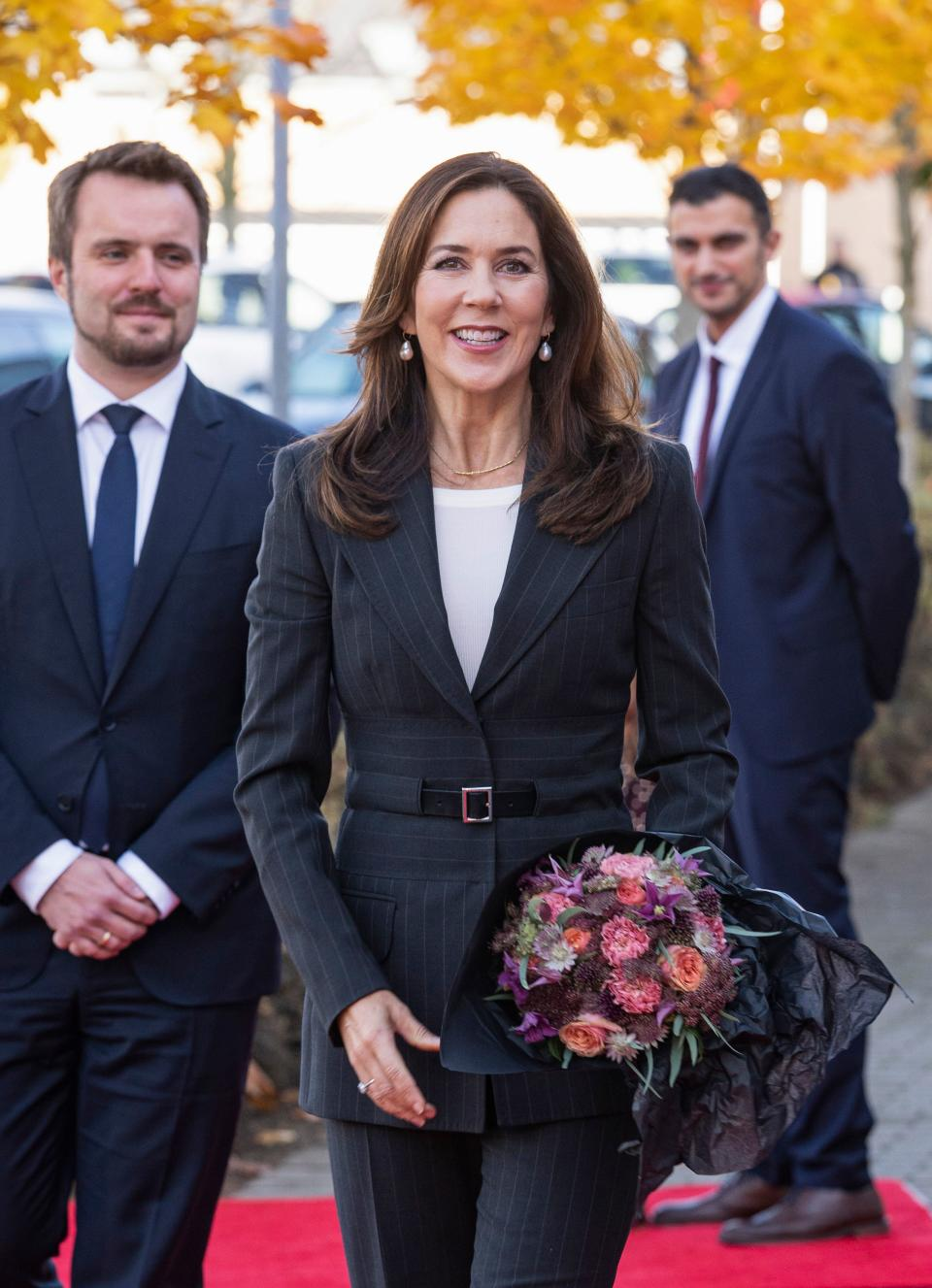 """Crown Princess Mary of Denmark arrives for the inauguration of the new national visitor center """"Nation of Health"""", in Odense on October 28, 2020"""