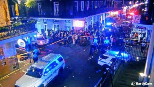 PHOTO: Police respond to a shooting on Bourbon Street after gunshots were recorded on CCTV, July 31, 2021, in New Orleans, Louisina. (EPN/Newscom)