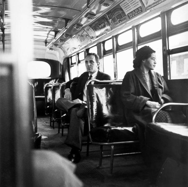 PHOTO: Rosa Parks sits in the front of a bus in Montgomery, Alabama, after the Supreme Court ruled segregation illegal on the city bus system, Dec. 21, 1956. (Bettmann Archive/Getty Images)