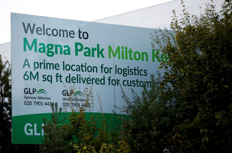 A welcome sign is seen at Magna Park in Milton Keynes