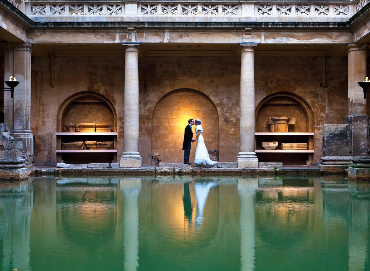 <p>If this picture doesn't make you want to get married at the roman baths immeadiately, then maybe our description will. The site dates back around 2000 years and is a World Heritage site. The huge, scaling ceilings will make you feel a bit like you're in Beauty and the Beast (although maybe don't tell your fiancé that).<br /><em>[Photo: Roman baths]</em> </p>