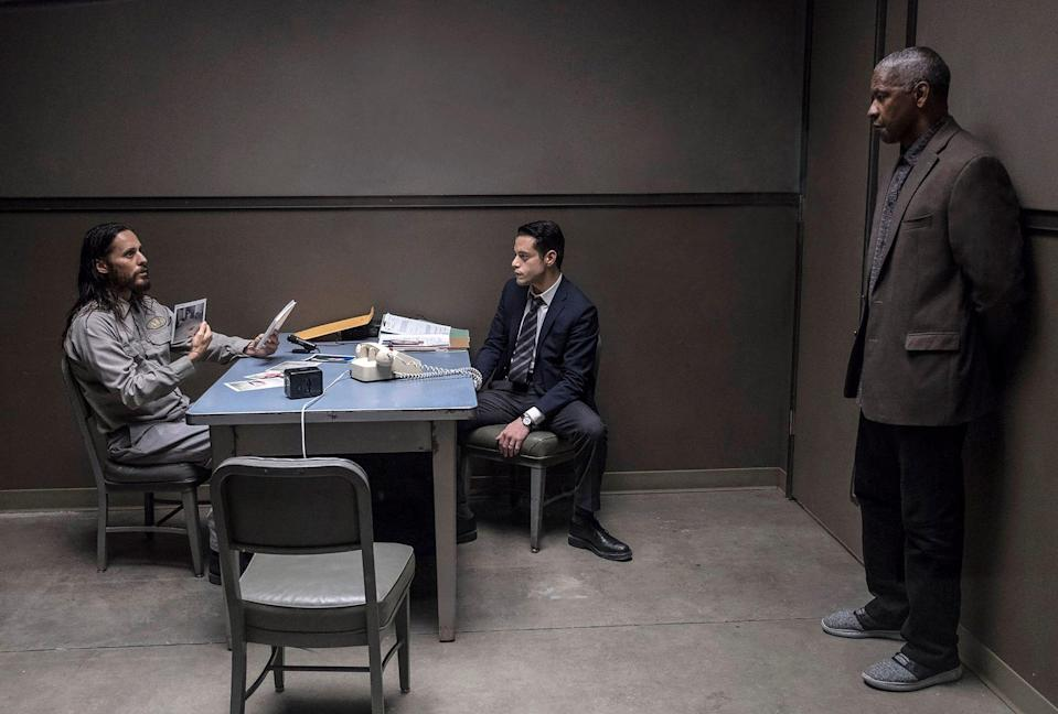 Denzel Washington says there was electricity in a central interrogation scene with murder suspect Albert Sparma (Jared Leto) and homicide detective Jim Baxter (Rami Malek).