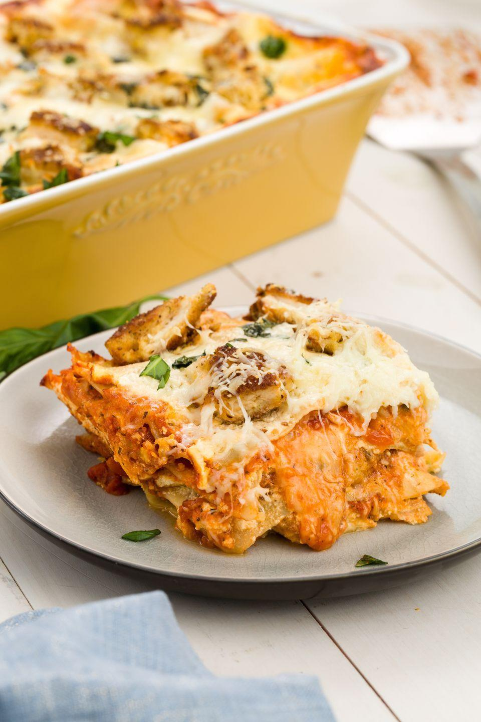 """<p>Any true chicken Parm fan knows that you can turn it into everything from <a href=""""http://rams.delish.com/cooking/recipe-ideas/recipes/a45480/skillet-chicken-parmesan-dip-recipe/"""" rel=""""nofollow noopener"""" target=""""_blank"""" data-ylk=""""slk:dip"""" class=""""link rapid-noclick-resp"""">dip</a> to <a href=""""https://www.delish.com/cooking/a44084/this-chicken-parm-soup-puts-all-other-soups-to-shame/?visibilityoverride"""" rel=""""nofollow noopener"""" target=""""_blank"""" data-ylk=""""slk:soup"""" class=""""link rapid-noclick-resp"""">soup</a>. This lasagna might be better than both.</p><p>Get the recipe from <a href=""""https://www.delish.com/cooking/recipe-ideas/recipes/a45578/chicken-parm-lasagna-recipe/"""" rel=""""nofollow noopener"""" target=""""_blank"""" data-ylk=""""slk:Delish"""" class=""""link rapid-noclick-resp"""">Delish</a>.</p>"""