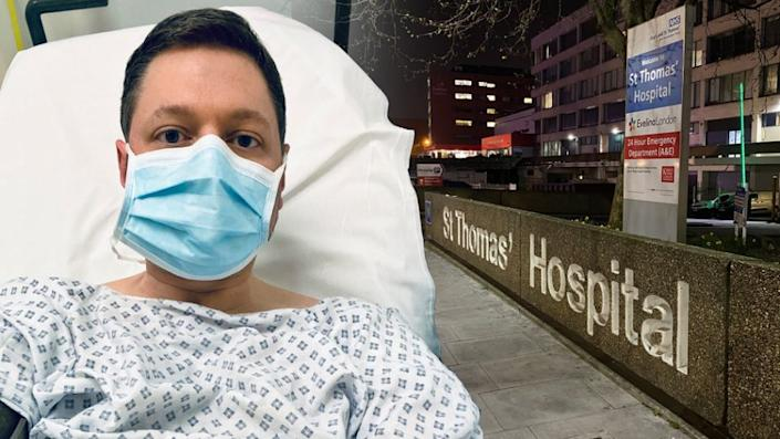 The author in the hospital in London. (Photo courtesy Ed Hornick)