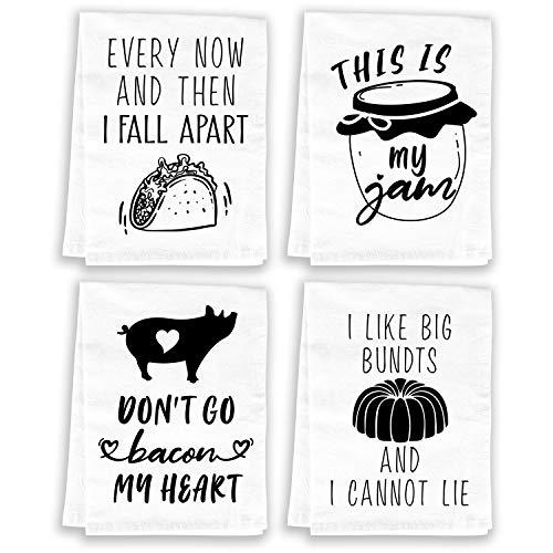 Miracu Funny Kitchen Towels and Dishcloths Sets of 4 - Cotton Dish Towels for Drying Dishes - Cute Decorative Hand Towels, Tea Towels, Flour Sack Towels, White - Christmas, Housewarming Gifts New Home (Amazon / Amazon)