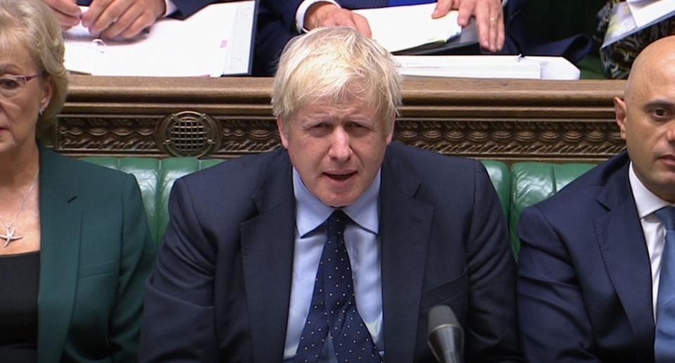 Prime Minister Boris Johnson reacts as Labour leader Jeremy Corbyn responds to his statement to MPs in the House of Commons, London, on the G7 Summit in Biarritz.