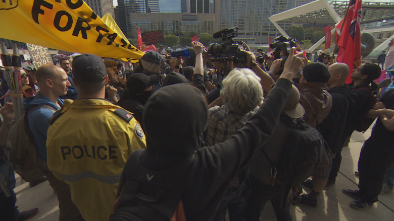 4 charged after demonstrators clash at Toronto's Nathan Phillips Square