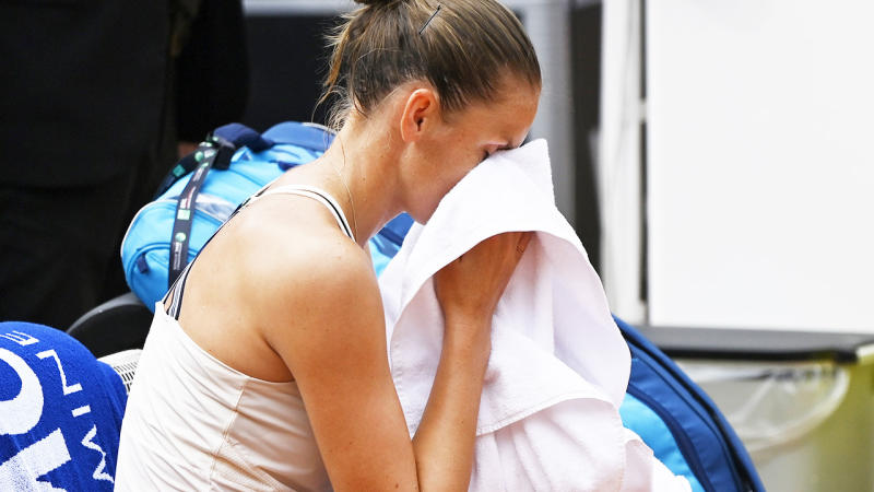 Karolina Pliskova, pictured here after retiring hurt in the Italian Open final.