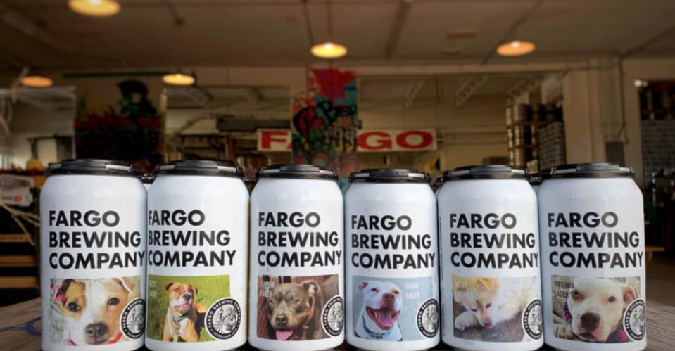 Fargo Brewing Company put shelter dogs on beer cans to help get them adopted (Photo: Facebook/Fargo Brewing Company)