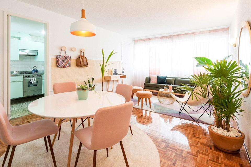"""<a href=""""https://www.cntraveler.com/story/my-favorite-airbnb-in-mexico-city-a-colorful-tropical-oasis-in-condesa?mbid=synd_yahoo_rss"""" rel=""""nofollow noopener"""" target=""""_blank"""" data-ylk=""""slk:One of associate editor Megan Spurrell's favorite Mexico City Airbnbs"""" class=""""link rapid-noclick-resp"""">One of associate editor Megan Spurrell's favorite Mexico City Airbnbs</a>, this two-bedroom apartment is a tropical oasis in Condesa. And, while most apartments in the city are walk-ups, this one has an elevator (albeit a rickety one). Inside, you'll find one bedroom that's bigger than the other—one with a queen and one with a double—with enough room to fit four cozy friends. The hosts have put a lot of care into this Airbnb, according to Spurrell. """"Modest but thoughtful details like tea and some condiments in the kitchen also go a long way toward making it feel like home,"""" she says. $45, Airbnb (Starting Price). <a href=""""https://www.airbnb.com/rooms/23478735"""" rel=""""nofollow noopener"""" target=""""_blank"""" data-ylk=""""slk:Get it now!"""" class=""""link rapid-noclick-resp"""">Get it now!</a>"""