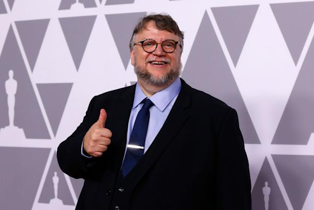 Guillermo del Toro arrives at the 90th Oscars Nominees Luncheon.