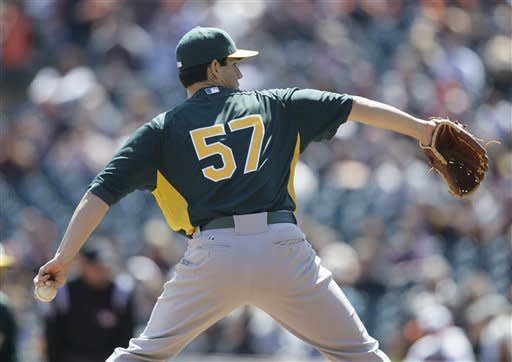 Oakland Athletics starting pitcher Tommy Milone throws to the San Francisco Giants during the first inning of an exhibition baseball game in San Francisco, Wednesday, April 4, 2012. (AP Photo/Eric Risberg)