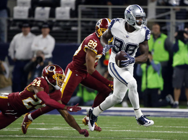 Once opponents, Dez Bryant seems very interested in signing with the Redskins, Giants or Eagles in order to spite the Cowboys. (AP Photo)
