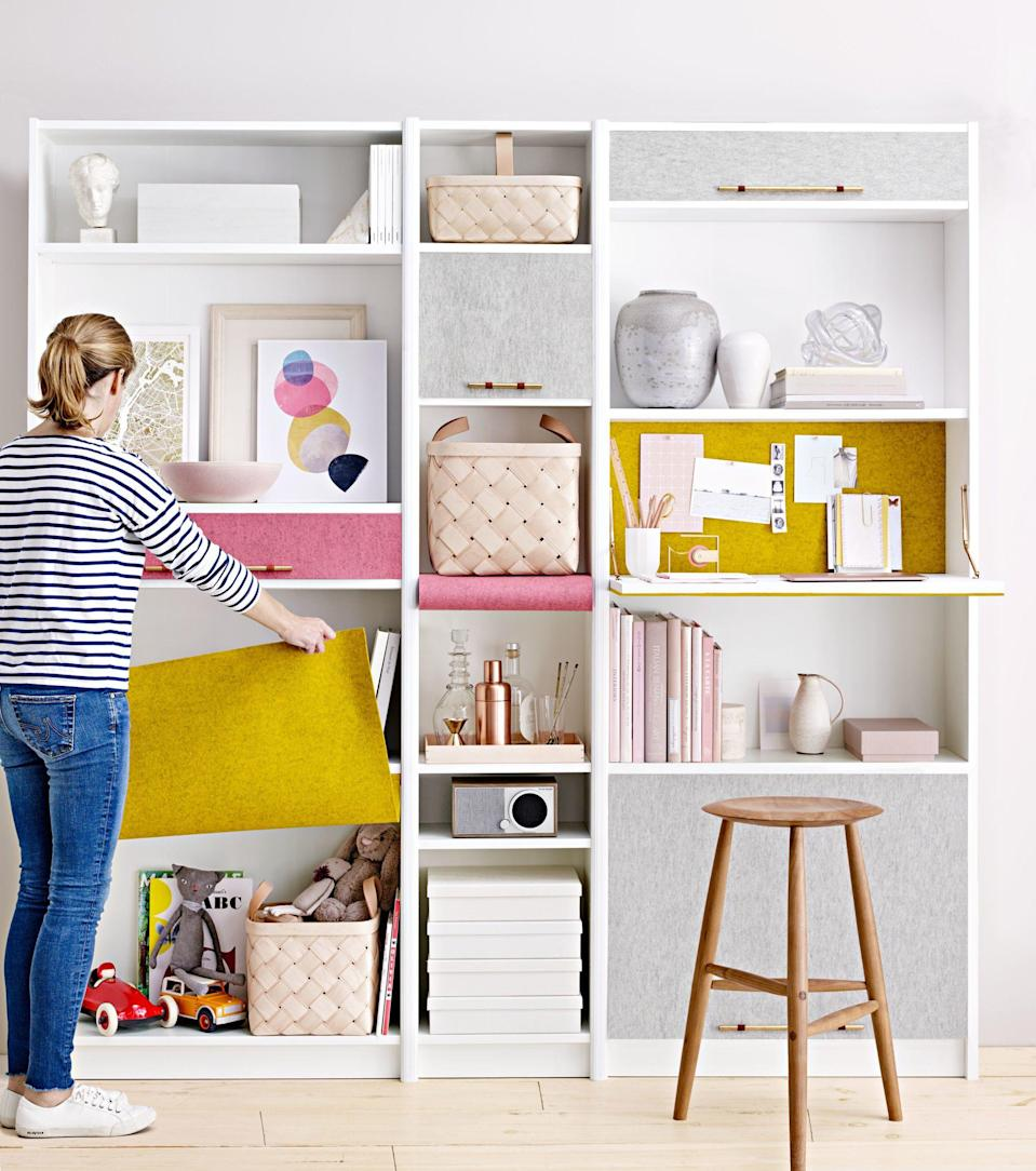 <p>Create your own ideal study spot with a fold-down desk that fits in even the smallest of spaces. Incorporating a desk into a wall of bookshelves makes it easy to keep the rest of your study materials nearby—but folding it up when you're not using it provides a more spacious (and stress-free) spot for relaxing.</p>