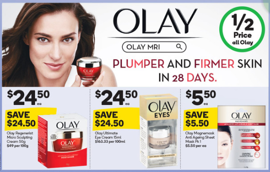 Olay range on sale for half-price at Woolworths.