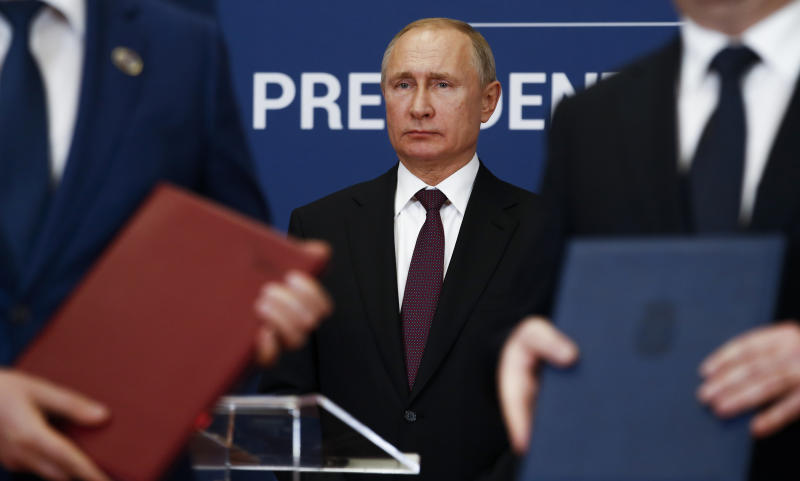 FILE - In this Jan. 17, 2019, file photo, Russian President Vladimir Putin attends a signing ceremony after his talks with Serbian President Aleksandar Vucic in Belgrade, Serbia. (AP Photo/Darko Vojinovic, File)