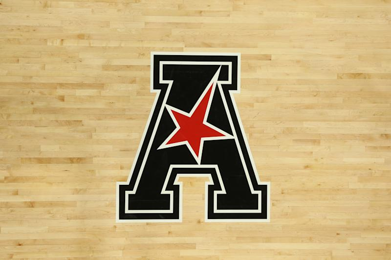 CINCINNATI, OH - NOVEMBER 07: An American Athletic Conference logo on the floor during the game against the Ohio State Buckeyes and the Cincinnati Bearcats on November 7th 2018, at Fifth Third Arena in Cincinnati, OH. (Photo by Ian Johnson/Icon Sportswire via Getty Images)