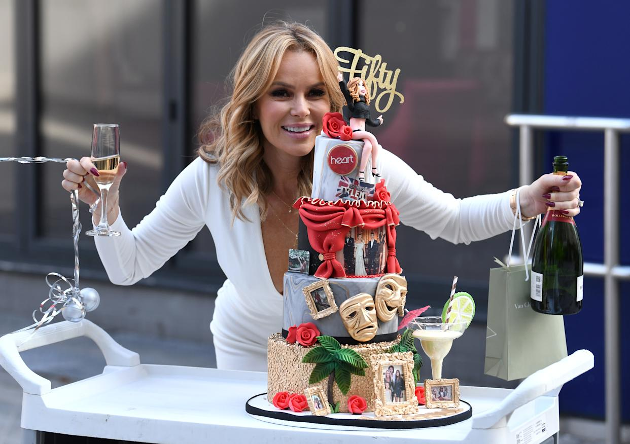 Amanda Holden celebrates her 50th birthday at the Global Radio Studios, Leicester Square, London.Credit: Doug Peters/EMPICS