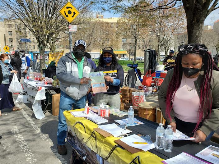 A vaccine fair on April 10, 2021, by Casa Yurumein, an Afro-Central American cultural center in the Bronx, New York. The group provides outreach and cultural programs for Garífuna peoples.