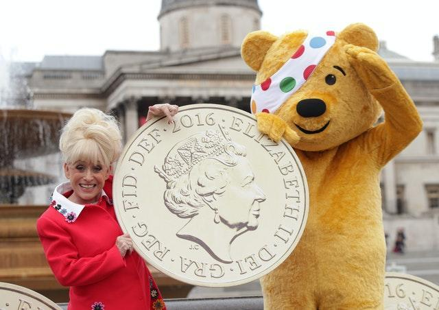 Dame Barbara Windsor with the BBC Children in Need mascot Pudsey